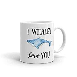 d1e8222cf21 Funny Whale Mug, I Whaley Love You Valentines Day Punny Mugs, Funny Coffee  Mug